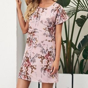 Shein Batwing Sleeve Pink Floral Tunic Dress sz S